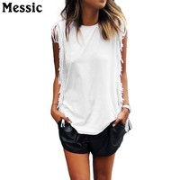 Messic Casual Cotton Vest Womens New Retro Tassel Vest Style Clothing Free Shipping 2018 Summer Sleeveless Long Tunic Tank Tops