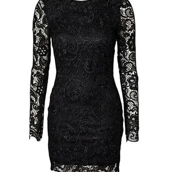 Black Floral Lace Long Sleeve Backless Bodycon Mini Dress