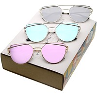 Women's Premium Mirrored Flat Lens Aviator Sunglasses C358 [Promo Box]