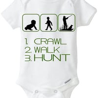 """Funny Sport Silhouette Baby Gift: Gerber Onesuit brand body suit """"1. Crawl 2. Walk 3. Hunt"""" - Perfect new baby gift for a Hunter / new Dad"""