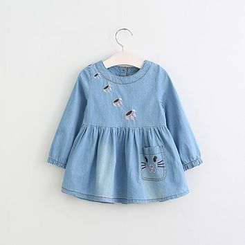 Baby Girls Cats Pocket Paw Prints Embroidered Dress Children Long Sleeve Dress Kids Round Collar Dresses