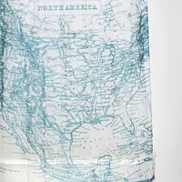 Antique Map Shower Curtain- Blue One