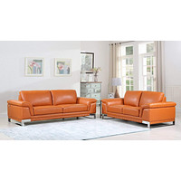 Leather Sofa Set - 73'' X 39'' X 32'' Modern Camel Leather Sofa And Loveseat