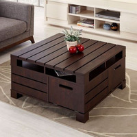 Coffee Table Slatted Top And Sides With Hidden Compartment Vintage Walnut Finish