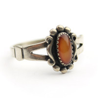 Sterling Silve Orange Moonglow Stone Ring - WM Co Ring Size 7.25