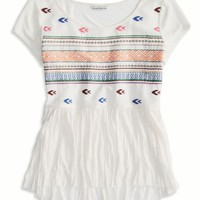AEO Women's Embroidered Crinkle T-shirt