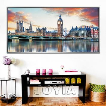 Large City Canvas Prints Wall Art London Architecture Reflection Paintings On Canvas City Skyline Painting Calligraphy Framed No