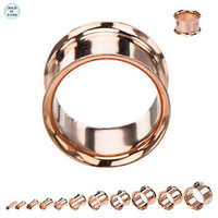 Rose Gold Plated Surgical Steel Double Flare Ear Plugs - PRP778