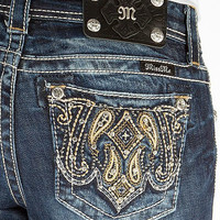 Miss Me Junior's Western Paisley Mid Rise Bootcut Jeans