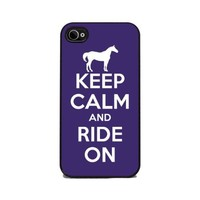 Keep Calm and Ride On Equestrian - Purple - iPhone 4 or 4s Cover, Cell Phone Case - Black Silicone Rubber Sides
