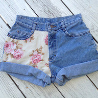 Vintage Floral Print Jeans by SheaBoutique on Etsy