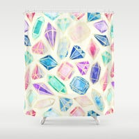Watercolor Gems Intense Shower Curtain by Tangerine-Tane | Society6