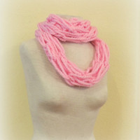 Knitted infinity scarf, pink knitted scarf, hand knitted scarf, loop scarf, soft pink knitted scarves,long winter scarf