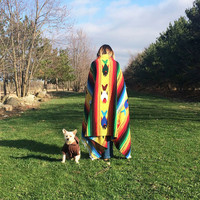 Vintage 1970's Mexican Native American Rainbow Striped Pisces Fish Blanket And Rug || Navajo Boho Hippie Serape Blanket . Size 43 x 80