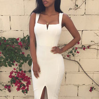 Slit Bandage Strap  Bodycon Party Midi Dress