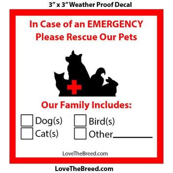 Emergency Pet Rescue Fire Safety Decal