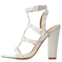 White Strappy Studded Chunky Heels by Charlotte Russe