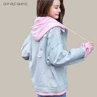 Trendy False Two Piece Hooded Denim Jacket For Women 2018 Fall Long Sleeve Oversized Outwear Female Casual Single Breasted Jeans Coats AT_94_13