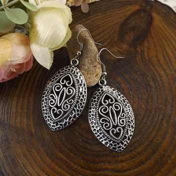 Tibetan Shield Silver Scroll Dangling Hook Earrings