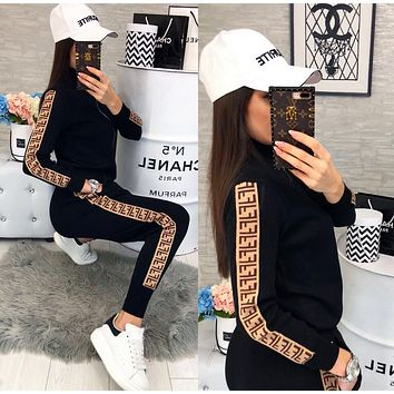 FENDI WomenS Casual Round Collar Top Pants Set Two-Piece WP015