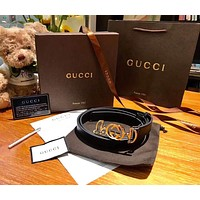 GUCCI Newest Fashion Women Smooth Buckle Leather Belt Width 2.5 CM