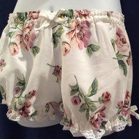 Size Small  Womens Cotton Bloomers Vintage Shabby Chic Large Pink Rose print trimmed in white Eyelet