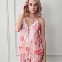 Printed Chiffon  Pajama two piece set B0014996