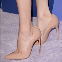 women pumps10.5cm women high heels ol pointed toe thin heels pumps red sole nude pumps fashion sexy candy color high heel shoes = 1958235268