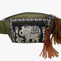 Dark Olive Green Black Elephant/Fanny packs/Boho bag/Thai Bag/ Hip Bag/Waist bag/Bum bag/bag/Elephant bag/Festival Fanny Pack/BUY3GET1FREE