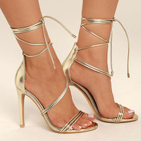 Ameerah Gold Lace-Up Heels