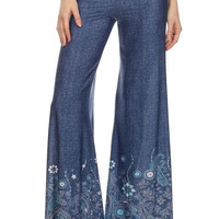 Denim print, high waisted, full length, wide leg Palazzo pants.