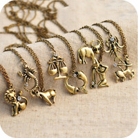 Twelve constellations of European and American jewelry retro necklace sweater chain,one piece price [olala013] - $3.23 : Favorwe.com Supply all kinds of cheap fasion jewelry