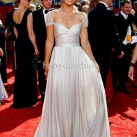 Wholesale Sleeve Dress - Buy Actual Image Olivia Wilde Jessica Szohr Reem Acra Crystal Cap Sleeve Prom Dress Red Carpet Gowns, $136.36   DHgate