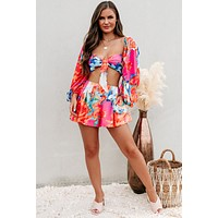Exotic Getaway Floral Two Piece Set (Blue Multi)