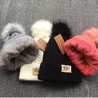 UGG Popular Autumn Winter Warm Women Men Pure Color With Small Ball Wool Thick Knit Hat Cap