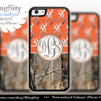 Monogram Iphone 5C case Browning Orange iPhone 5s iPhone 4 case Ipod 4 5 Touch case Real Tree Camo Deer Personalized Country Inspired Girl