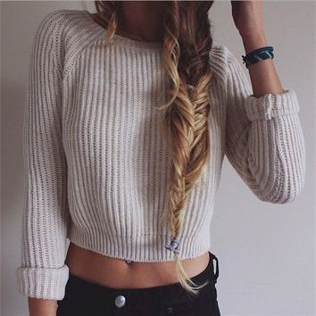 Women Fashion Round neck Long sleeves Short Sweater