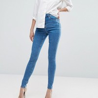 ASOS TALL RIDLEY High Waist Skinny Jeans in Lily Wash at asos.com