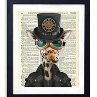 Steampunk Giraffe Upcycled Vintage Dictionary Art Print 8x10