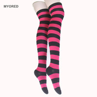 MYORED fashion Women Girls Over Knee Socks Thigh High Long Striped Stocking for party cosplay dancing easter day holloween 232W