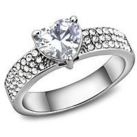 Mens Rings TK3505 Stainless Steel Ring with AAA Grade CZ