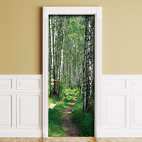 Sticker for Door / Wall / Fridge - Birches. Peel & Stick Removable Mural, Skin, Cover, Wrap, Decal, Poster