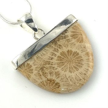Fossilized Coral Sterling Silver Pendant