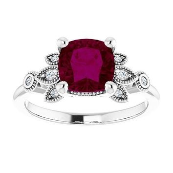 Sterling Silver Natural 7mm Cushion Cut Rhodolite Garnet & Ethically Mined Diamond Accented Engagement Ring