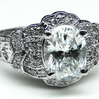 Engagement Ring - Oval Diamond Floral Engagement Ring in 14K White Gold - ES1073
