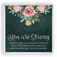 You are Strong  Engraved Disc Necklace