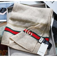 Gucci new metal wire hollow woven shawl classic red and green strip design fashion lady cashmere yarn scarf