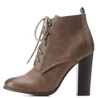 Taupe Burnished Chunky Heel Lace-Up Booties by Charlotte Russe