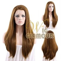 """Long Straight 24"""" Light Chestnut Brown Lace Front Wig Heat Resistant"""