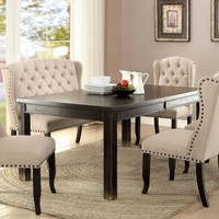 6 pc Sania II collection contemporary style antique black finish wood dining table set with padded chairs